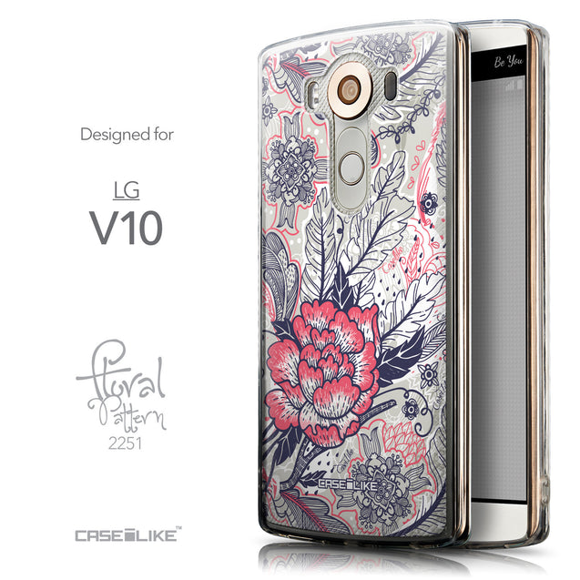Front & Side View - CASEiLIKE LG V10 back cover Vintage Roses and Feathers Beige 2251