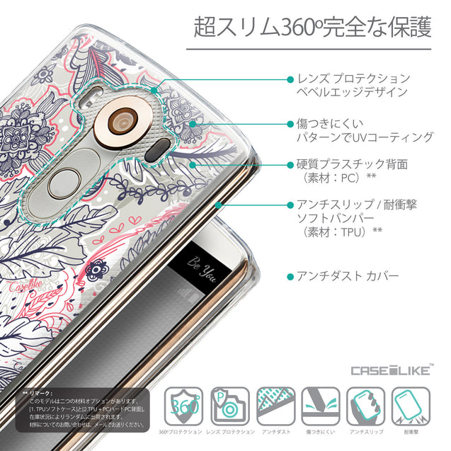 Details in Japanese - CASEiLIKE LG V10 back cover Vintage Roses and Feathers Beige 2251
