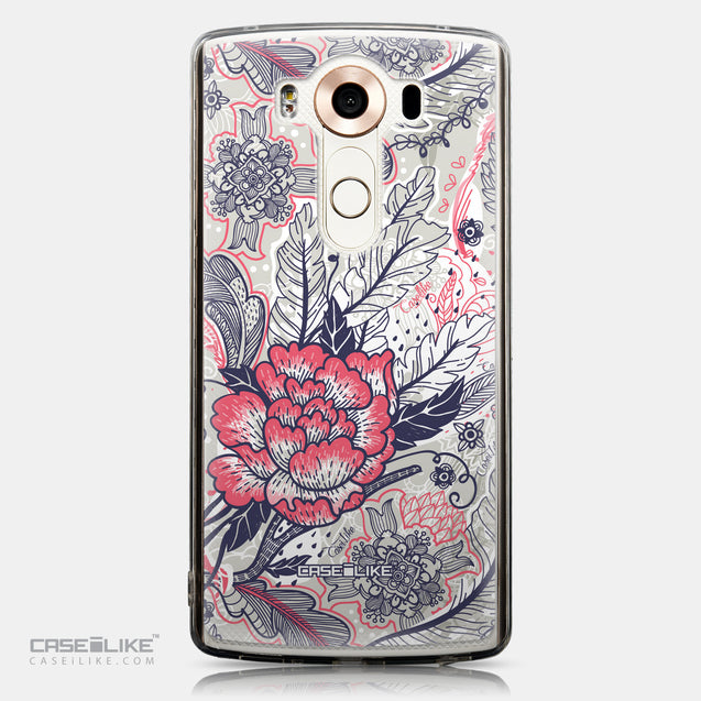 CASEiLIKE LG V10 back cover Vintage Roses and Feathers Beige 2251