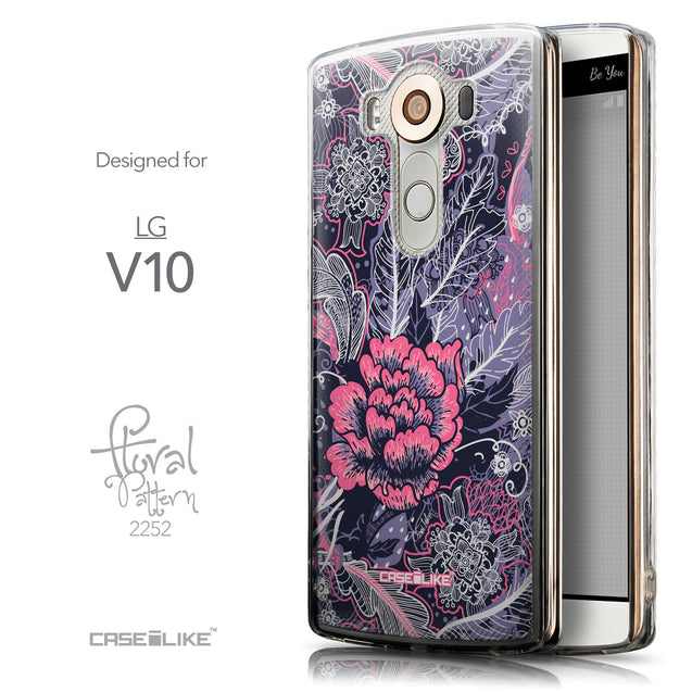 Front & Side View - CASEiLIKE LG V10 back cover Vintage Roses and Feathers Blue 2252