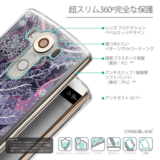 Details in Japanese - CASEiLIKE LG V10 back cover Vintage Roses and Feathers Blue 2252