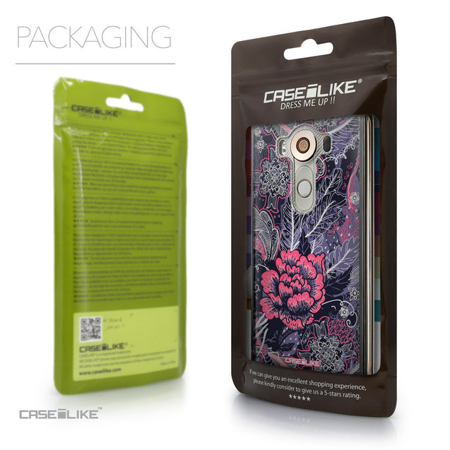 Packaging - CASEiLIKE LG V10 back cover Vintage Roses and Feathers Blue 2252