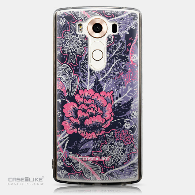 CASEiLIKE LG V10 back cover Vintage Roses and Feathers Blue 2252