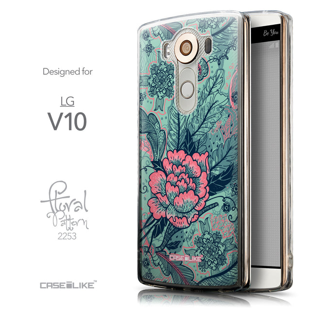 Front & Side View - CASEiLIKE LG V10 back cover Vintage Roses and Feathers Turquoise 2253