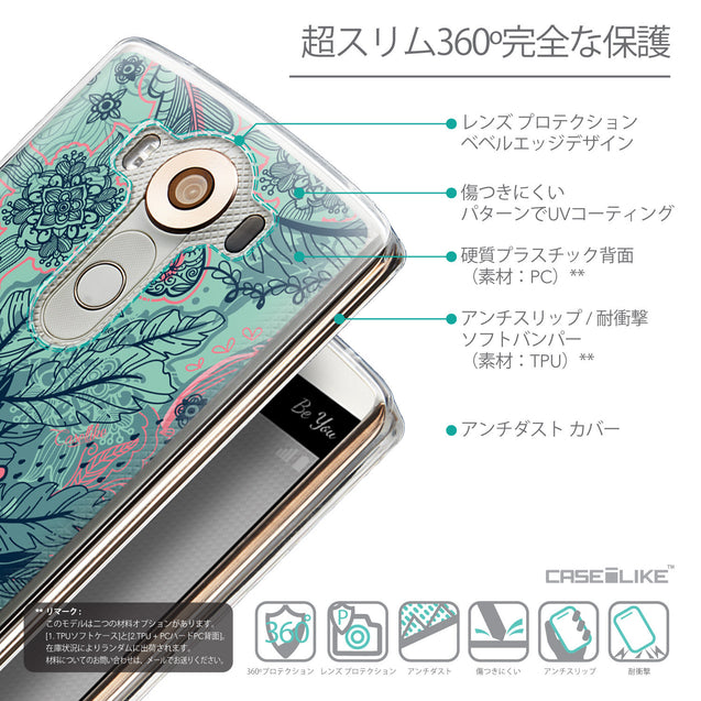 Details in Japanese - CASEiLIKE LG V10 back cover Vintage Roses and Feathers Turquoise 2253
