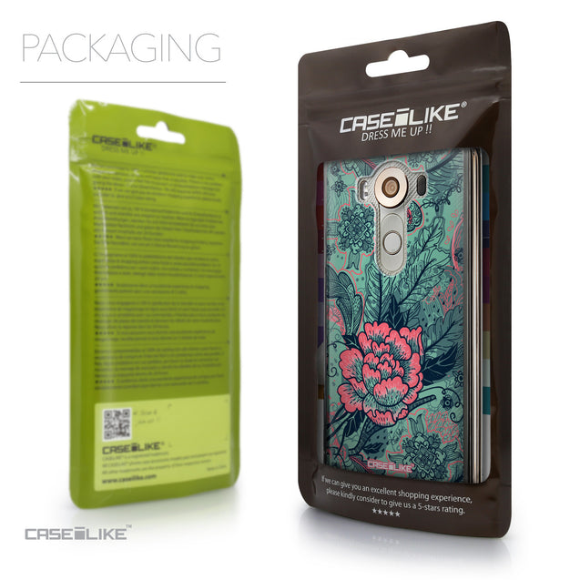 Packaging - CASEiLIKE LG V10 back cover Vintage Roses and Feathers Turquoise 2253