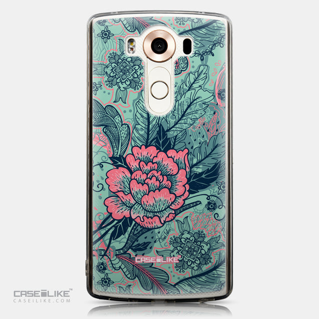 CASEiLIKE LG V10 back cover Vintage Roses and Feathers Turquoise 2253
