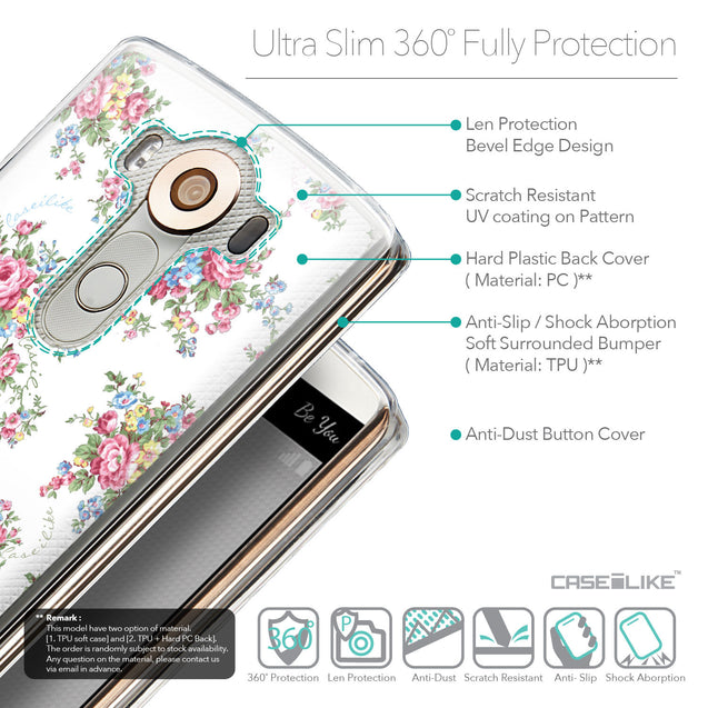 Details in English - CASEiLIKE LG V10 back cover Floral Rose Classic 2260