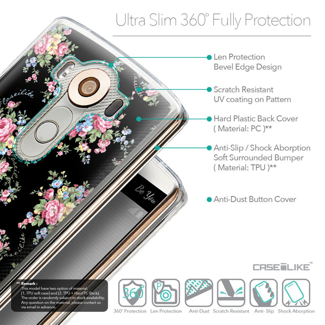 Details in English - CASEiLIKE LG V10 back cover Floral Rose Classic 2261