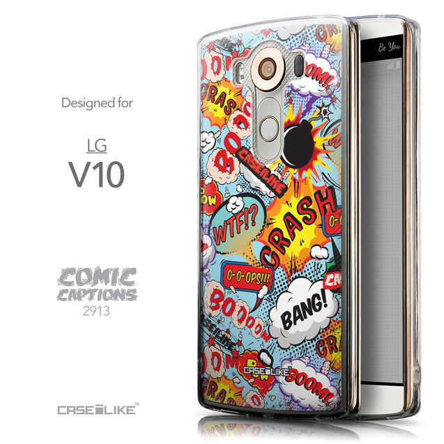 Front & Side View - CASEiLIKE LG V10 back cover Comic Captions Blue 2913