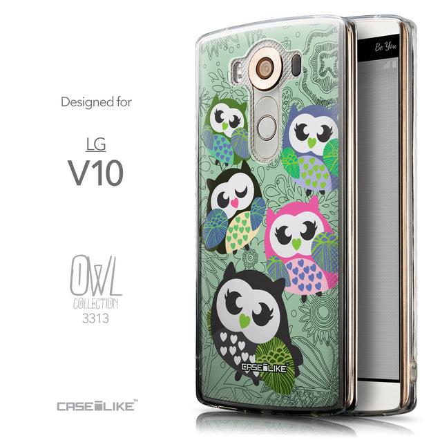 Front & Side View - CASEiLIKE LG V10 back cover Owl Graphic Design 3313