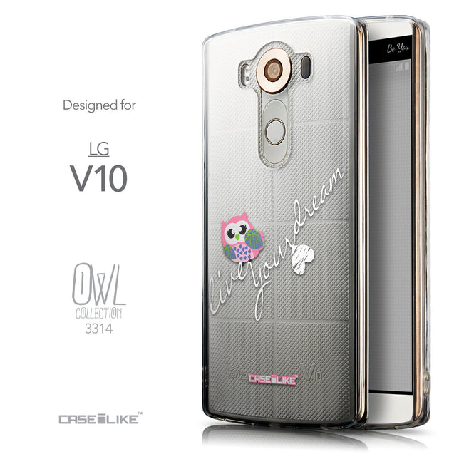 Front & Side View - CASEiLIKE LG V10 back cover Owl Graphic Design 3314