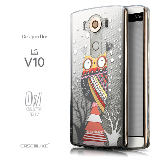 Front & Side View - CASEiLIKE LG V10 back cover Owl Graphic Design 3317