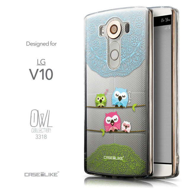 Front & Side View - CASEiLIKE LG V10 back cover Owl Graphic Design 3318