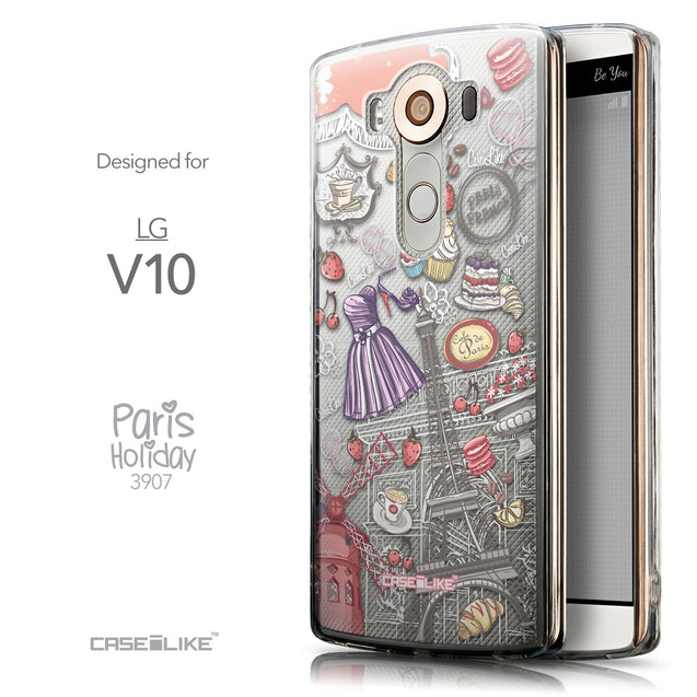 Front & Side View - CASEiLIKE LG V10 back cover Paris Holiday 3907