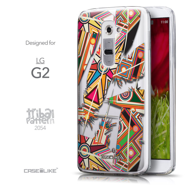 Front & Side View - CASEiLIKE LG G2 back cover Indian Tribal Theme Pattern 2054