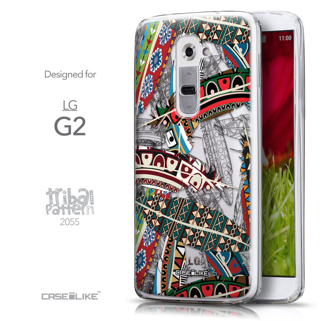 Front & Side View - CASEiLIKE LG G2 back cover Indian Tribal Theme Pattern 2055