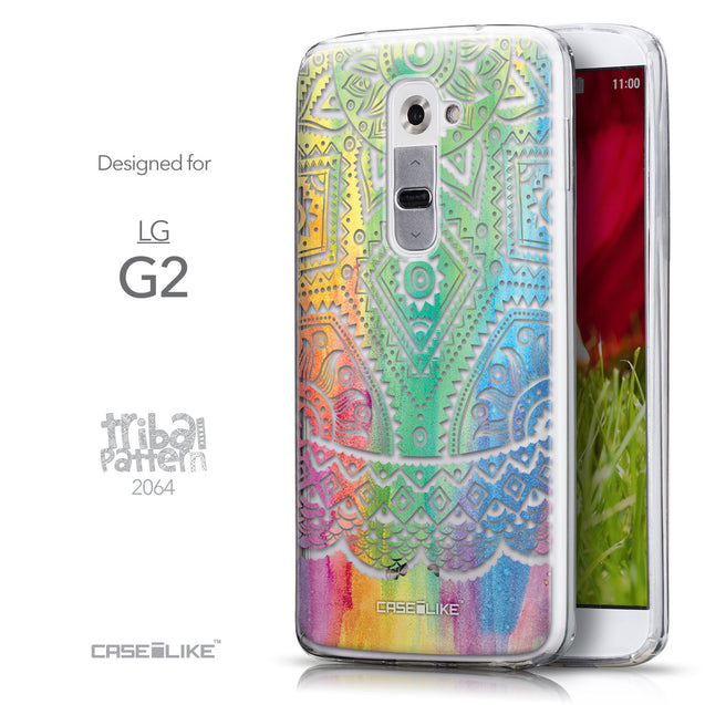 Front & Side View - CASEiLIKE LG G2 back cover Indian Line Art 2064