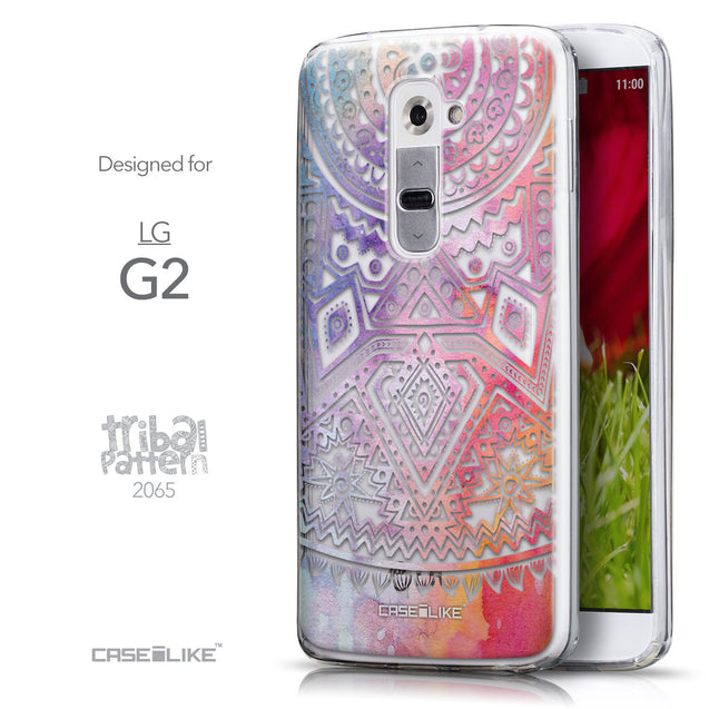 Front & Side View - CASEiLIKE LG G2 back cover Indian Line Art 2065