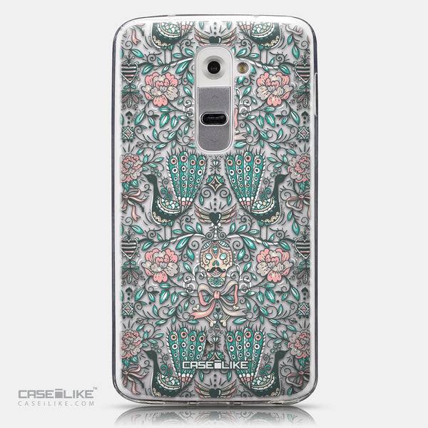 CASEiLIKE LG G2 back cover Roses Ornamental Skulls Peacocks 2226