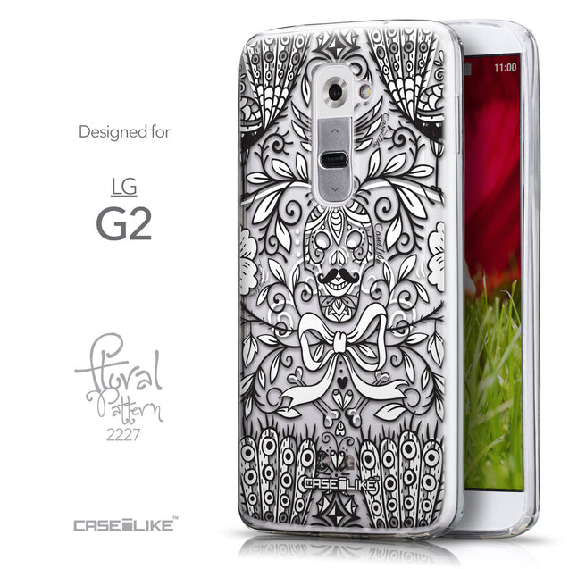 Front & Side View - CASEiLIKE LG G2 back cover Roses Ornamental Skulls Peacocks 2227