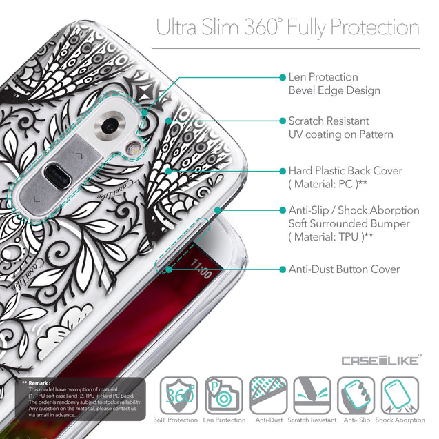 Details in English - CASEiLIKE LG G2 back cover Roses Ornamental Skulls Peacocks 2227