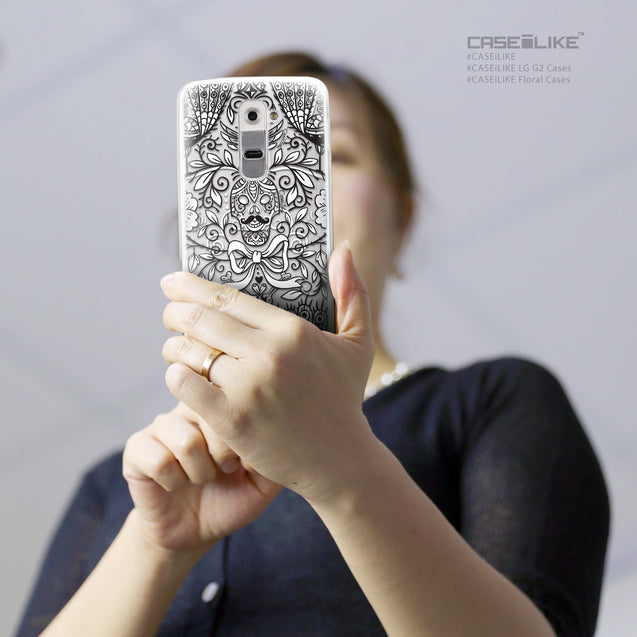 Share - CASEiLIKE LG G2 back cover Roses Ornamental Skulls Peacocks 2227