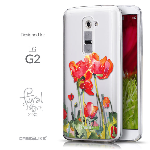 Front & Side View - CASEiLIKE LG G2 back cover Watercolor Floral 2230