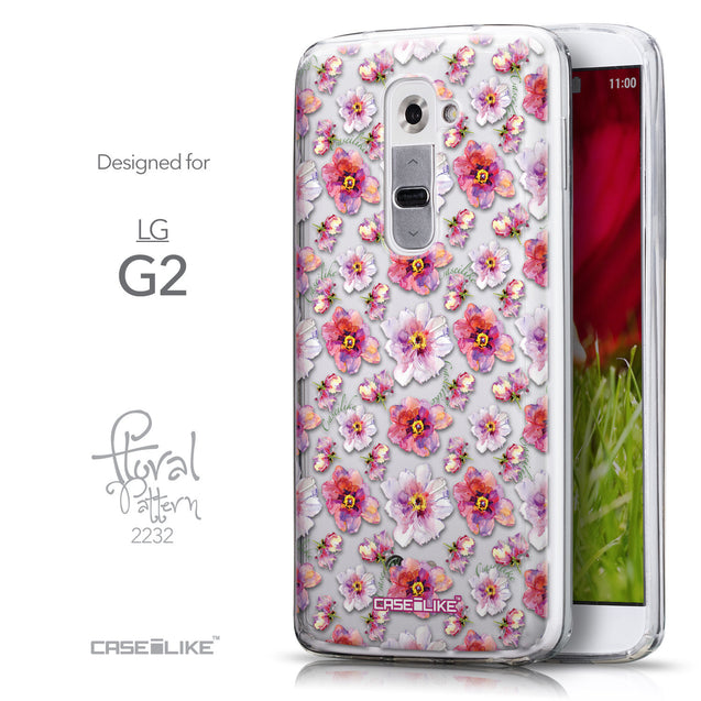 Front & Side View - CASEiLIKE LG G2 back cover Watercolor Floral 2232