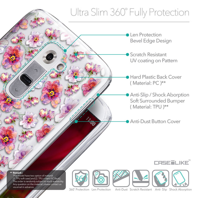 Details in English - CASEiLIKE LG G2 back cover Watercolor Floral 2232