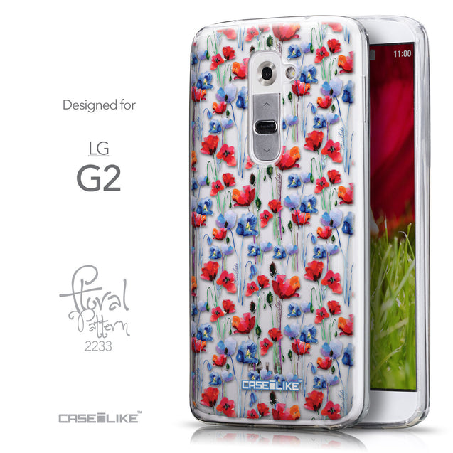 Front & Side View - CASEiLIKE LG G2 back cover Watercolor Floral 2233