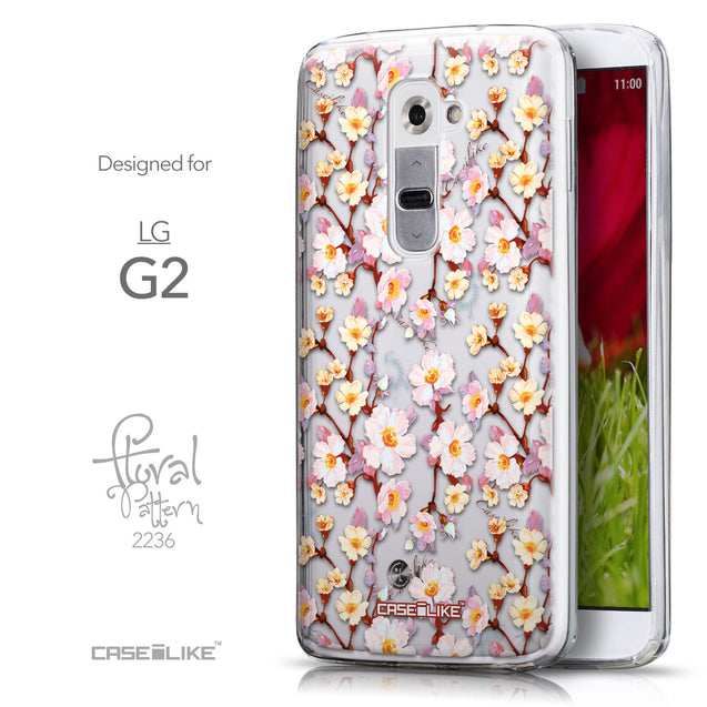 Front & Side View - CASEiLIKE LG G2 back cover Watercolor Floral 2236