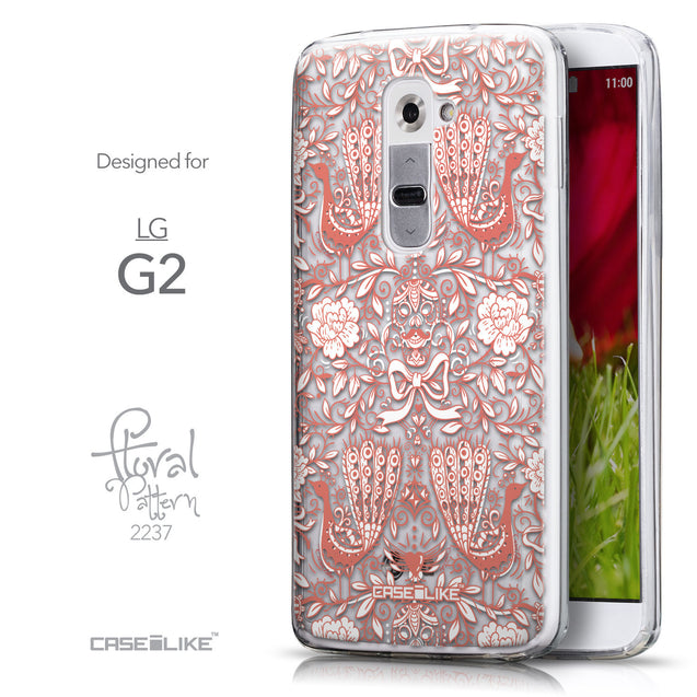 Front & Side View - CASEiLIKE LG G2 back cover Roses Ornamental Skulls Peacocks 2237