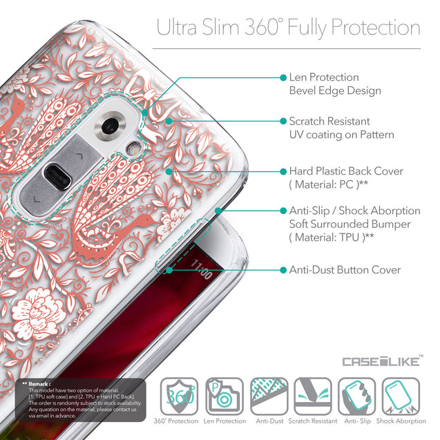 Details in English - CASEiLIKE LG G2 back cover Roses Ornamental Skulls Peacocks 2237