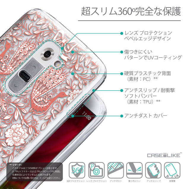 Details in Japanese - CASEiLIKE LG G2 back cover Roses Ornamental Skulls Peacocks 2237