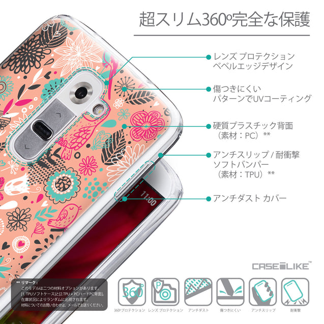 Details in Japanese - CASEiLIKE LG G2 back cover Spring Forest Pink 2242