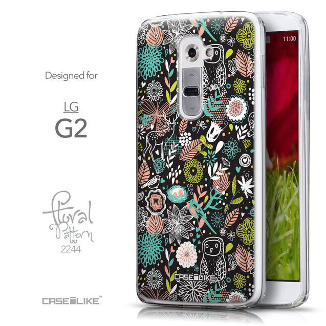 Front & Side View - CASEiLIKE LG G2 back cover Spring Forest Black 2244