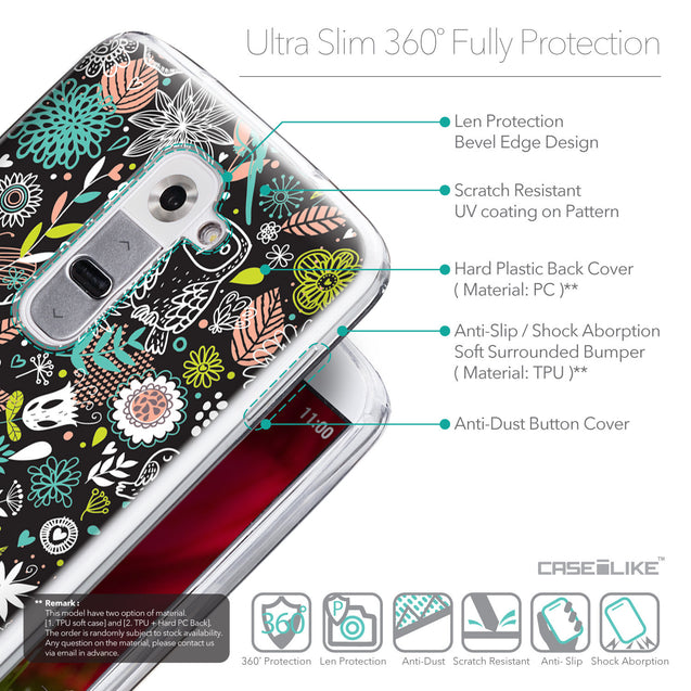 Details in English - CASEiLIKE LG G2 back cover Spring Forest Black 2244
