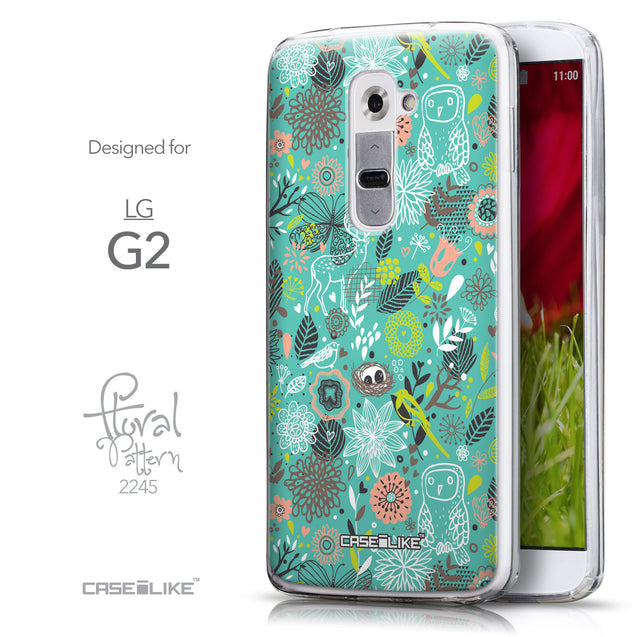 Front & Side View - CASEiLIKE LG G2 back cover Spring Forest Turquoise 2245