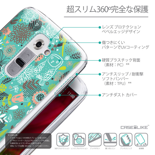Details in Japanese - CASEiLIKE LG G2 back cover Spring Forest Turquoise 2245