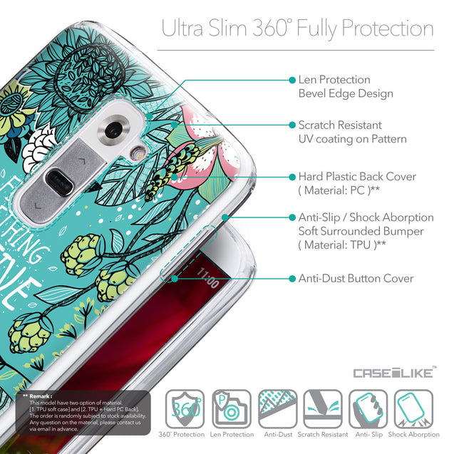 Details in English - CASEiLIKE LG G2 back cover Blooming Flowers Turquoise 2249