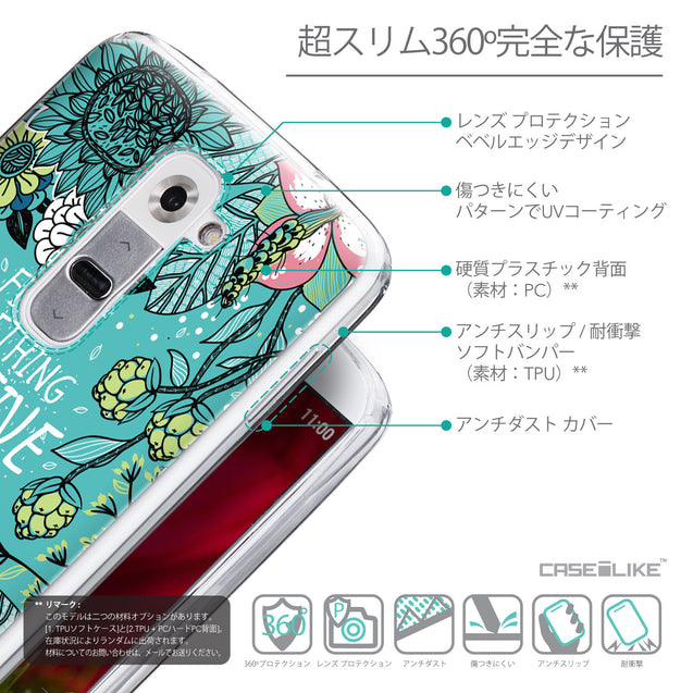 Details in Japanese - CASEiLIKE LG G2 back cover Blooming Flowers Turquoise 2249