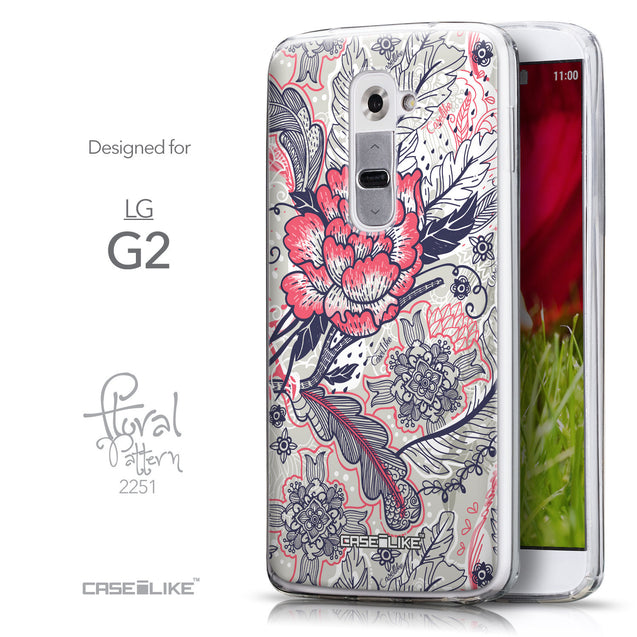 Front & Side View - CASEiLIKE LG G2 back cover Vintage Roses and Feathers Beige 2251