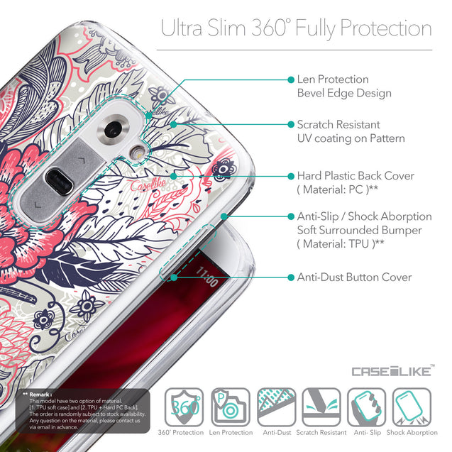 Details in English - CASEiLIKE LG G2 back cover Vintage Roses and Feathers Beige 2251