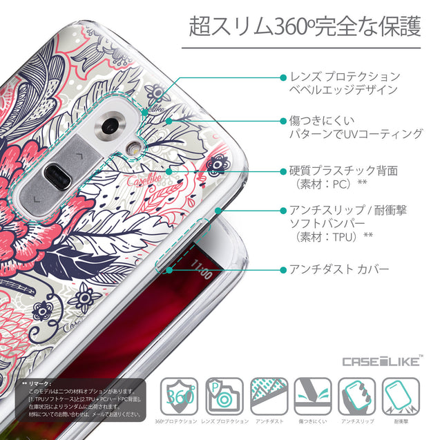 Details in Japanese - CASEiLIKE LG G2 back cover Vintage Roses and Feathers Beige 2251