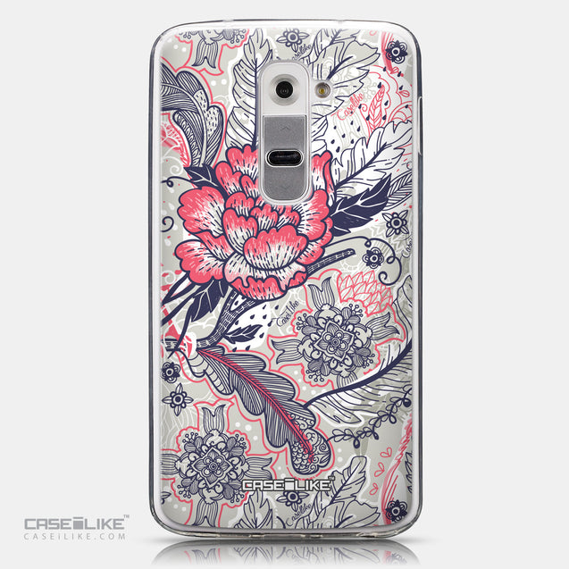 CASEiLIKE LG G2 back cover Vintage Roses and Feathers Beige 2251