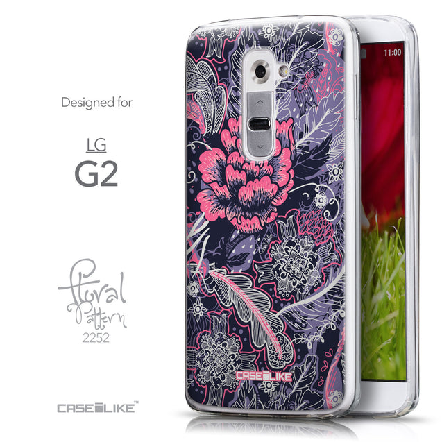Front & Side View - CASEiLIKE LG G2 back cover Vintage Roses and Feathers Blue 2252