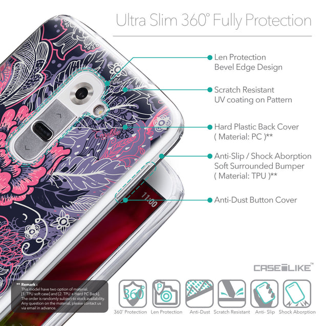 Details in English - CASEiLIKE LG G2 back cover Vintage Roses and Feathers Blue 2252