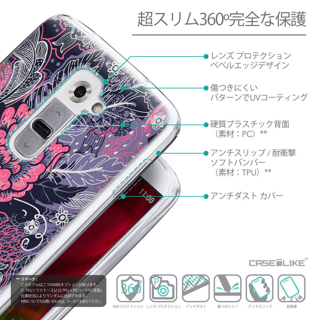 Details in Japanese - CASEiLIKE LG G2 back cover Vintage Roses and Feathers Blue 2252