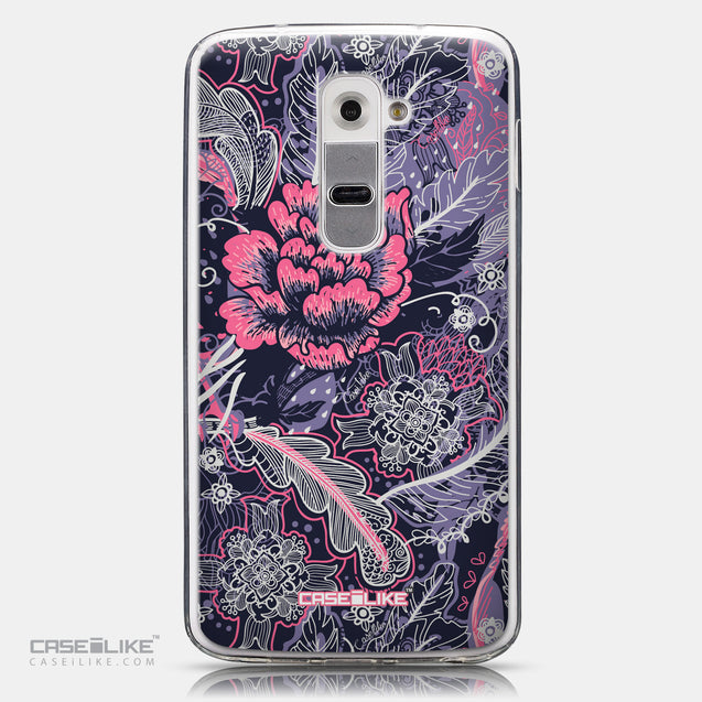 CASEiLIKE LG G2 back cover Vintage Roses and Feathers Blue 2252